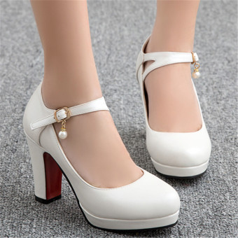 Korean-style black ol work shoes Versatile High-heeled shoes (White)