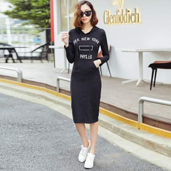 Korean-style black Slim fit slimming base skirt long-sleeved hoodie