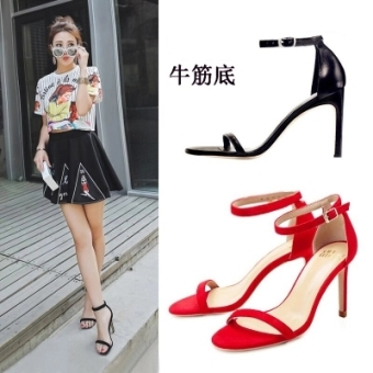 Korean-style Black Summer ultra-high-heeled sexy women's shoes sandals (CM 5CM black leather thin heeled sandals version1) (CM 5CM black leather thin heeled sandals version1)