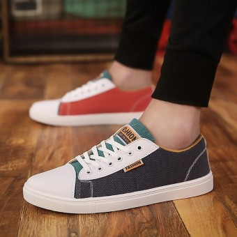 Korean-style black white spring and men's summer canvas shoes breathable casual shoes (Lan Hong)