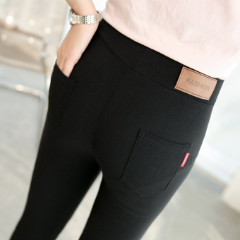 Korean-style black women high-waisted feet pants leggings
