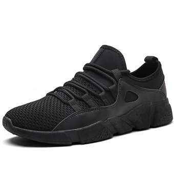 Korean-style breathable mesh running shoes breathable men's shoes (3019 black)