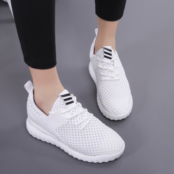 Korean-style breathable network elevator casual shoes athletic shoes (White) (White)