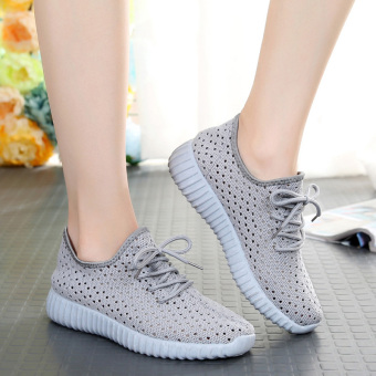 Korean-style breathable network female New style porous casual shoes Shoes (Light gray color)