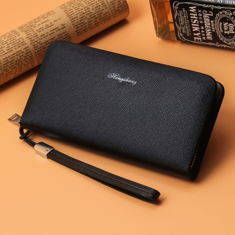 Korean-style business clutch bag long zip wallet (Black)