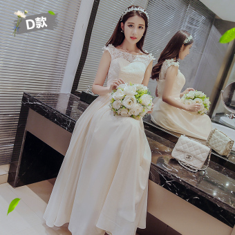 Korean style champagne color bridesmaid sisters dress bridesmaid dress (1918 long champagne color D)