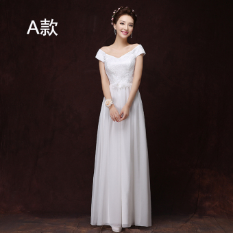 Korean style champagne color bridesmaid sisters dress bridesmaid dress (1918 long white)