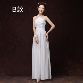 Korean style champagne color bridesmaid sisters dress bridesmaid dress (1918 long white B)
