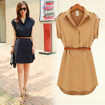 Korean-style chiffon New style short-sleeved dress (Black [to send SUN glasses])