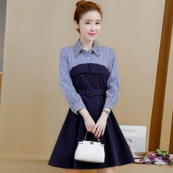 Korean-style cotton female autumn skirt Slim fit striped shirt (Blue)