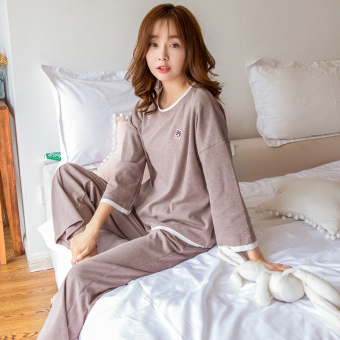 Korean-style cotton female autumn Spring and Autumn tracksuit pajamas