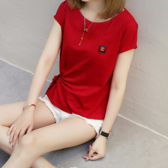 Korean-style cotton female New style base shirt T-shirt (Red)