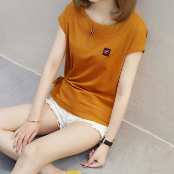 Korean-style cotton female New style base shirt T-shirt (Yellow)