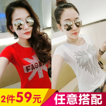 Korean-style cotton female short-sleeved Slim fit Top T-shirt (Red M word + white wings)