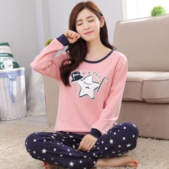 Korean-style cotton female thin tracksuit pajamas (Five Point star)