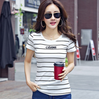 Korean-style cotton letter Striped short-sleeved t-shirt Female Summer (White)