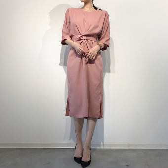 Korean style cotton linen elegant models spring bandage cloth medium-length dress Dress (Peach color)