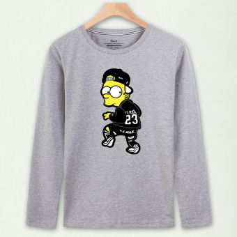 Korean-style cotton men's autumn long-sleeved t-shirt (Gray clothing Simpson 23)