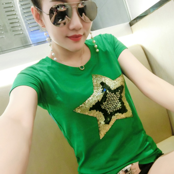Korean-style cotton New style Short sleeve T-shirt (Five Angle Star green)