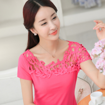 Korean-style cotton Slim fit slimming porous small shirt T-shirt (Rose color) (Rose color)
