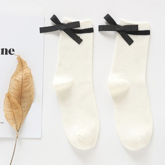 Korean-style cotton Spring and Autumn Four Seasons high-grade women's socks tube socks (Ivory)