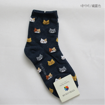 Korean-style cotton tube autumn short socks (Navy Blue)