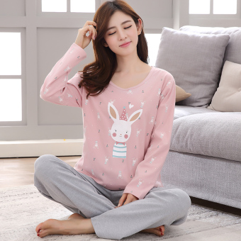 Korean-style cotton women's cotton long-sleeved tracksuit pajamas (9915 # shy rabbit) (9915 # shy rabbit)