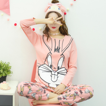 Korean-style cotton women's cotton long-sleeved tracksuit pajamas (L5822 # powder Bugs Bunny) (L5822 # powder Bugs Bunny)
