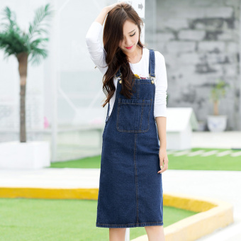 Korean-style cowboy female autumn New style cowboy dress strap dress (Dark blue color)