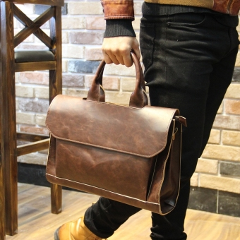 Korean-style Crazy Horse leather business casual bag New style hand bag (Black)