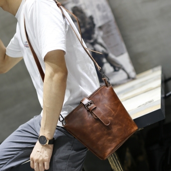 Korean-style Crazy Horse leather handmade men's small bag men's bag