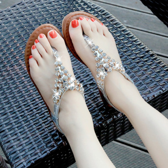 Korean-style crystal female student flip-flop sandals flat sandals (Silver [Soft and comfortable])