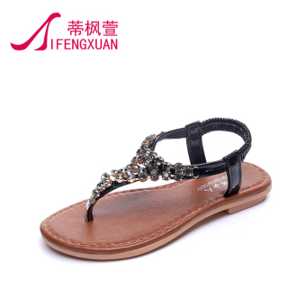 Korean-style crystal summer New style flat women's shoes flip-flop sandals (Black)