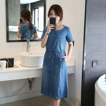 Korean-style denim summer models round neck dress