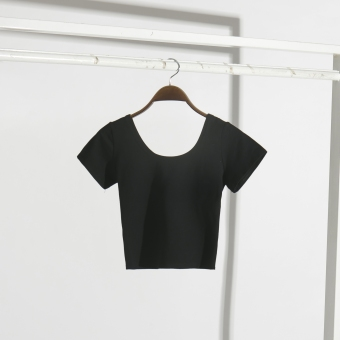 Korean-style drain navel slim fit T-shirt (Black) (Black)