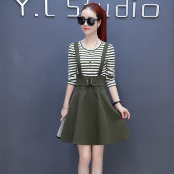 Korean-style elegant New style long-sleeved A-line dress autumn strap dress (Army Green)