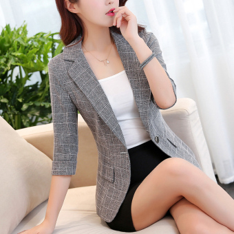 Korean-style elegant three-quarter-length sleeve Slim fit casual suit short jacket (Grey Black)