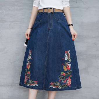 Korean-style embroidered autumn New style skirt cowboy dress
