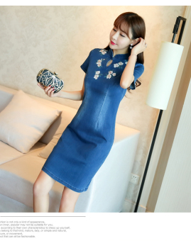 Korean-style embroidery female New style a word skirt denim dress