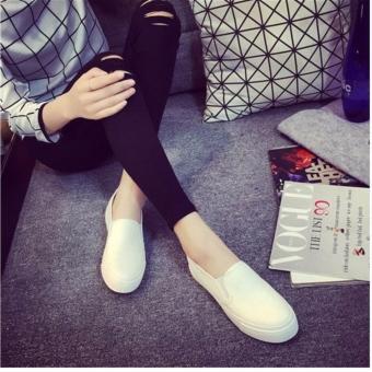 Korean Style Fashion Women Slip On Loafers - White - 4