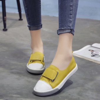 Korean-style Fashionable Hook-loop Leisure Shoes (Yellow)