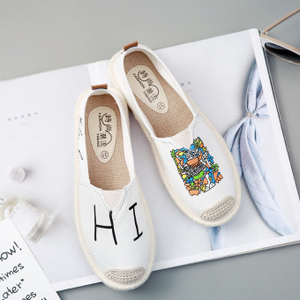 Korean-style female fisherman shoes wild canvas shoes (White Box)