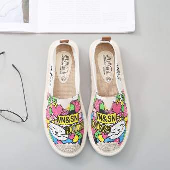 Korean-style female fisherman shoes wild canvas shoes (White Cat)