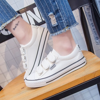 Korean-style female flat casual shoes Velcro canvas shoes (Women's + White)
