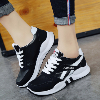 Korean-style female heavy-bottomed student breathable shoes New style sports shoes (Black)