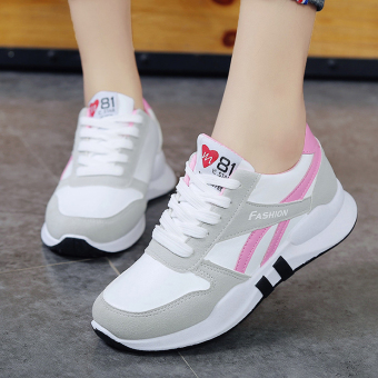 Korean-style female heavy-bottomed student breathable shoes New style sports shoes (Pink)