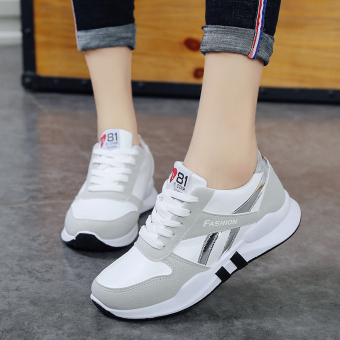 Korean-style female heavy-bottomed student breathable shoes New style sports shoes (White)