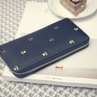 Korean-style female hook single zipper clutch bag New style women's wallet (Blue)