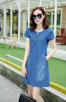Korean-style female long section Plus-sized a word skirt denim dress (Light blue)