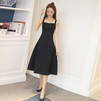 Korean-style female long section Slimming effect skirt high waisted Dungaree dress